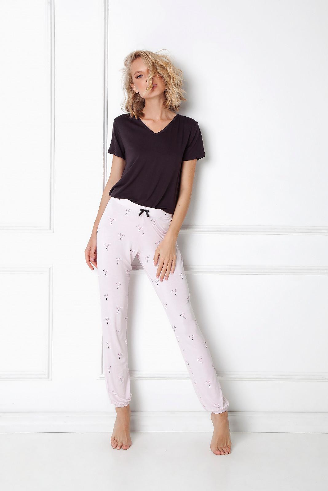 Dámske pyžamo Aruelle Cassandra Long kr / r XS-2XL čierna / lila L