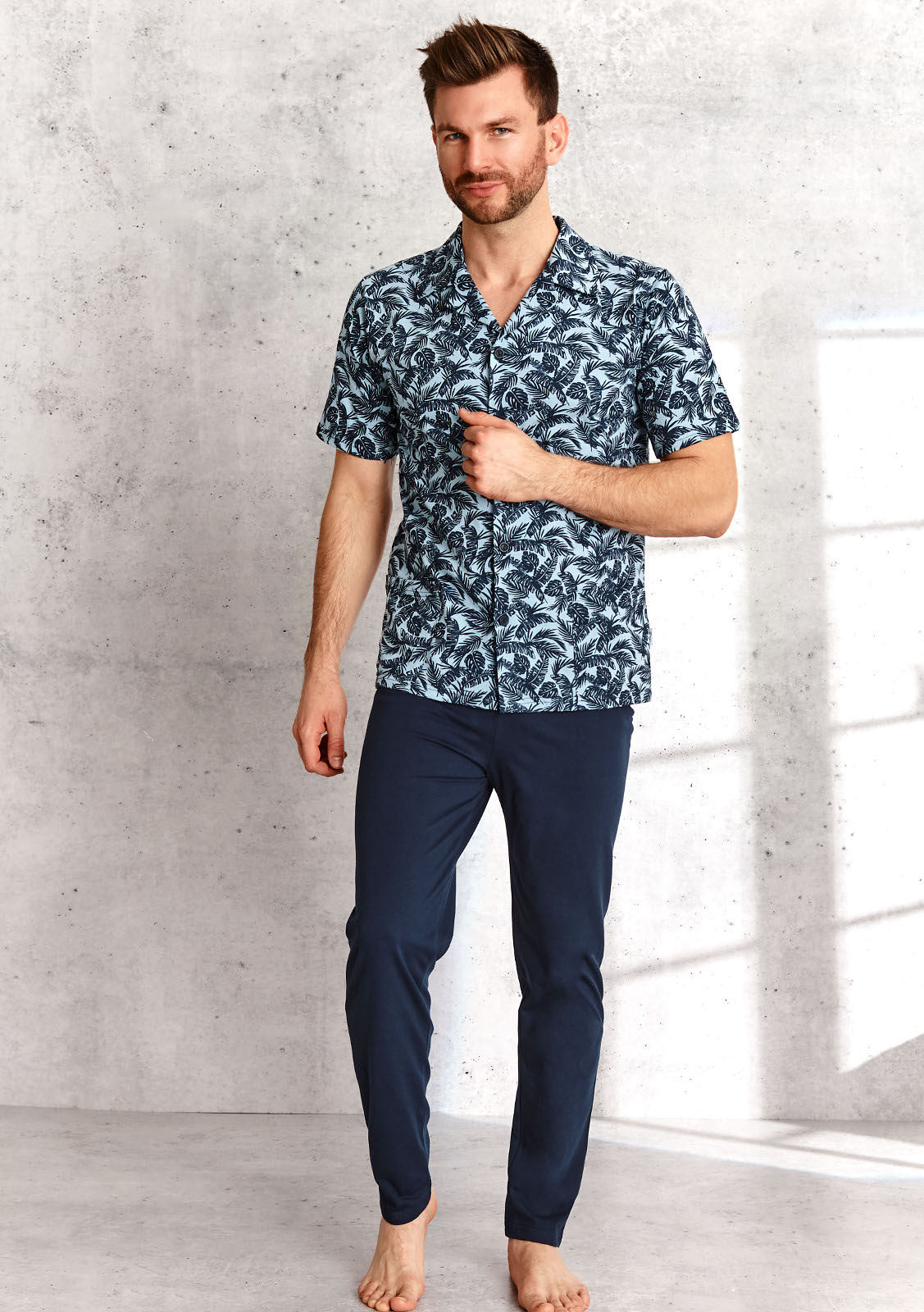 Pánske pyžamo Taro Gracjan 954 Kr / r 2XL-3XL L'21 modro-tmavo modrá XXL