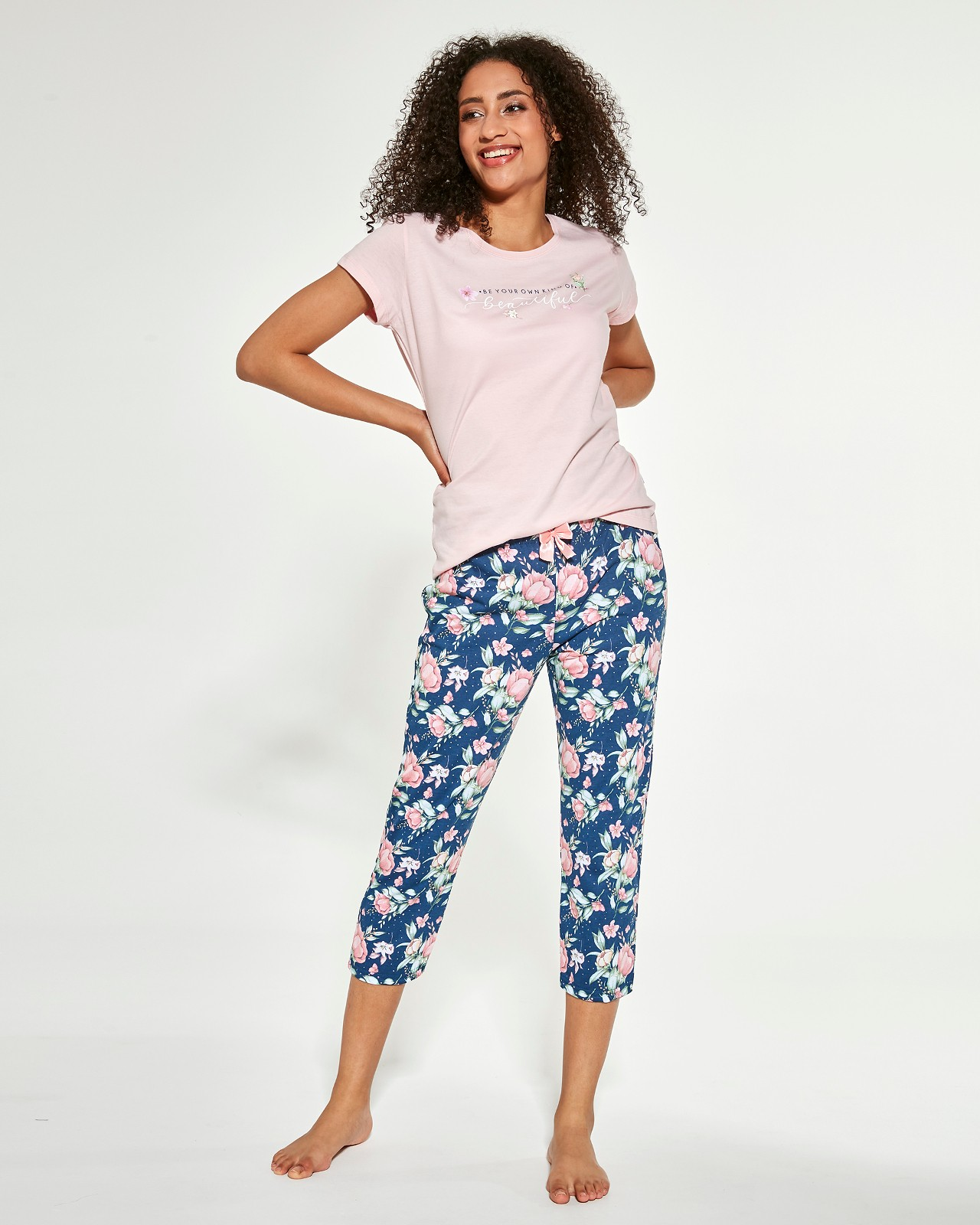 Trojdielne dámske pyžamo Cornette 466/281 Beautiful kr / r ružový M