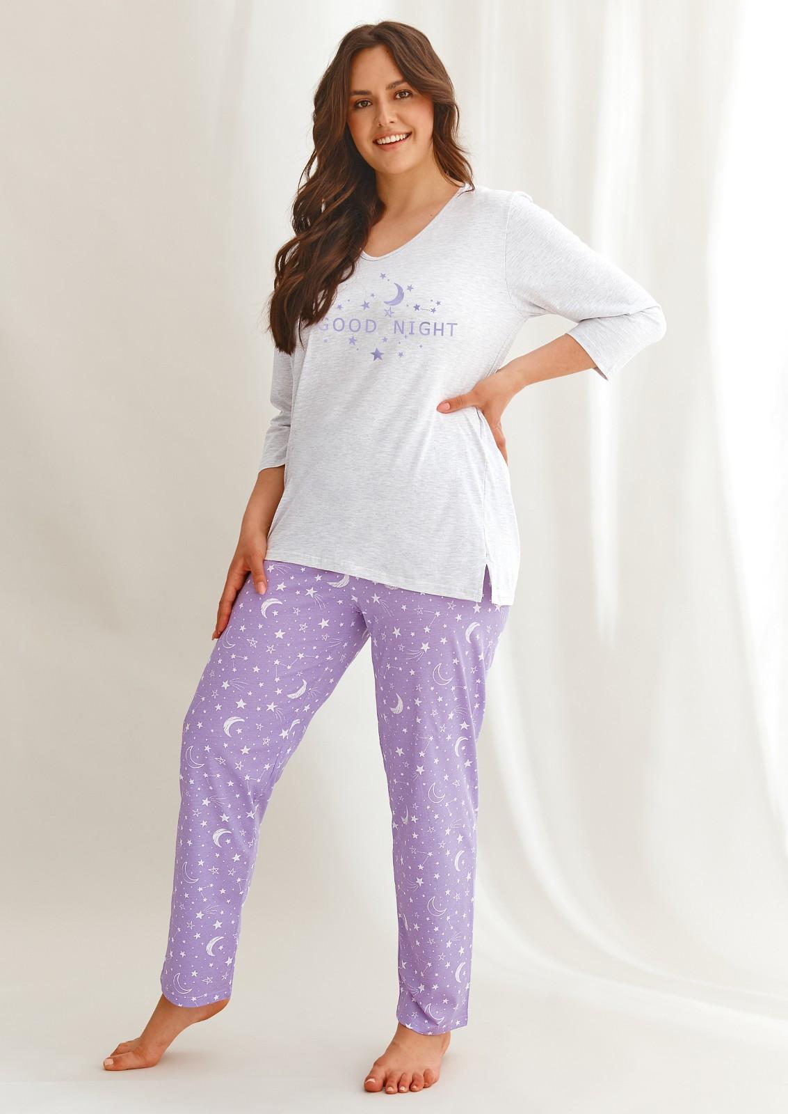 Dámske pyžamo Taro Isabel 2602 DL / r 2XL-3XL szary-fioletowy xxl