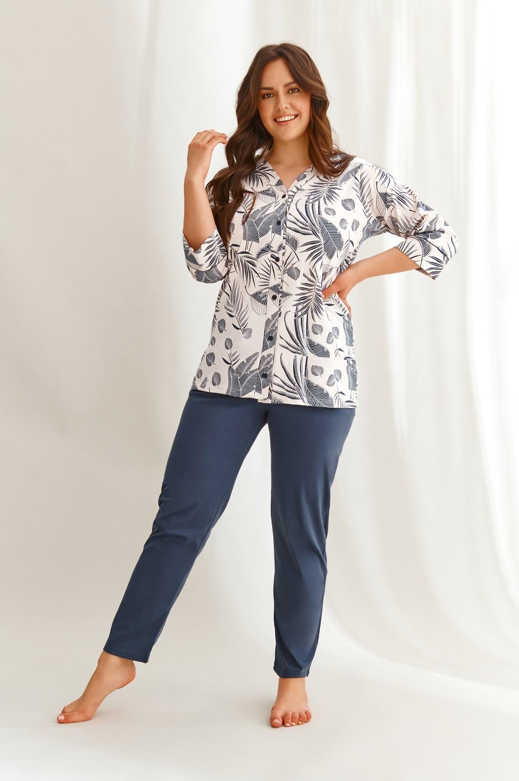 Dámske pyžamo Taro Megan 2613 3/4 2XL-3XL Z'22 beżowy-granatowy xxl