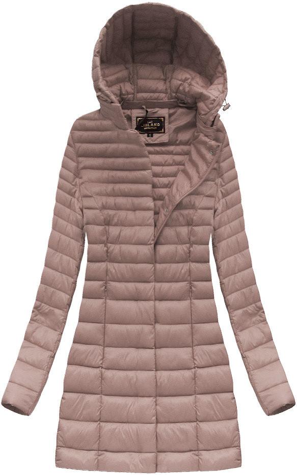 Růžová dámská delší bunda (7240) růžová S (36)
