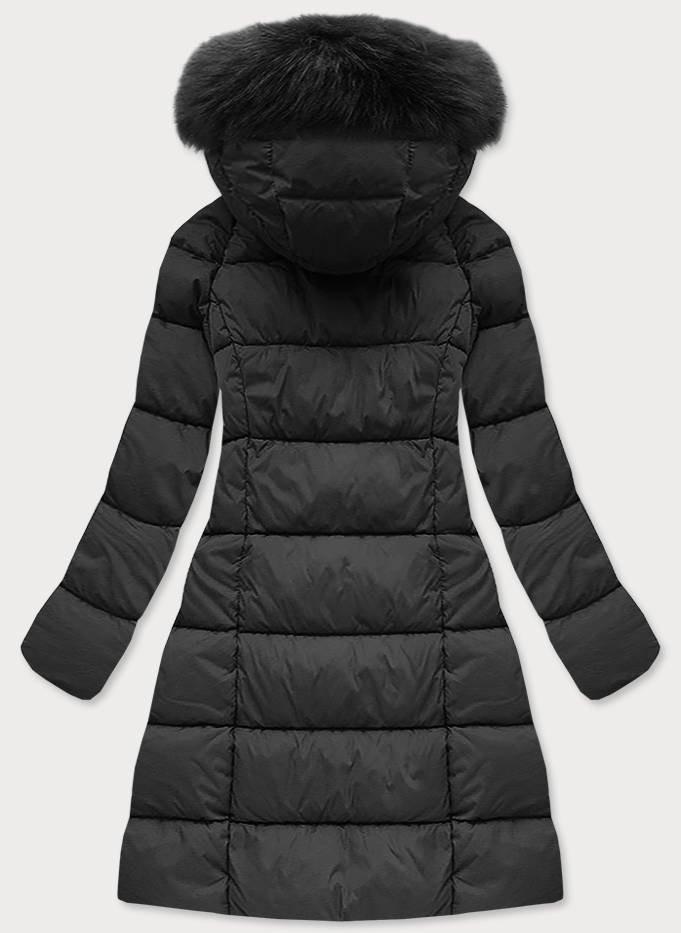 Černá dámská dlouhá bunda s kapucí (7751) černá S (36)