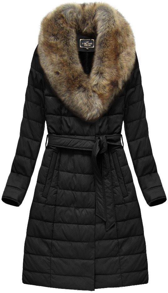Černý dámský dlouhý kabát (5528BIG) černá 50