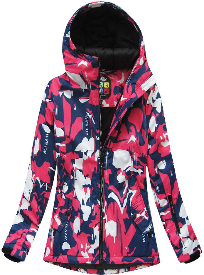 Modro-růžová dámská zimní bunda s membránou (W186) růžová S (36)