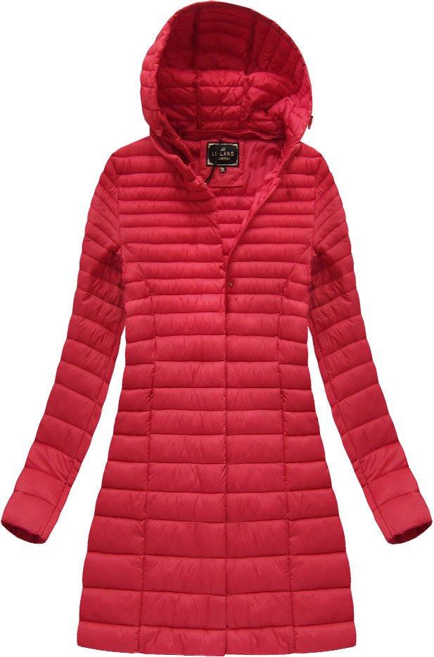 Červená dámská delší bunda (7240BIG) červená 46