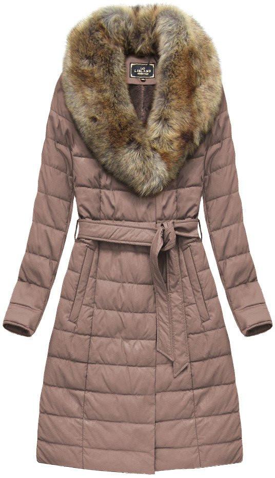 Růžový dámský zimní kabát (5528) růžová XXL (44)