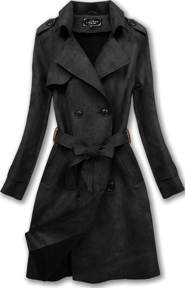 Černý dámský dvouřadý kabát (6003) černá XL (42)