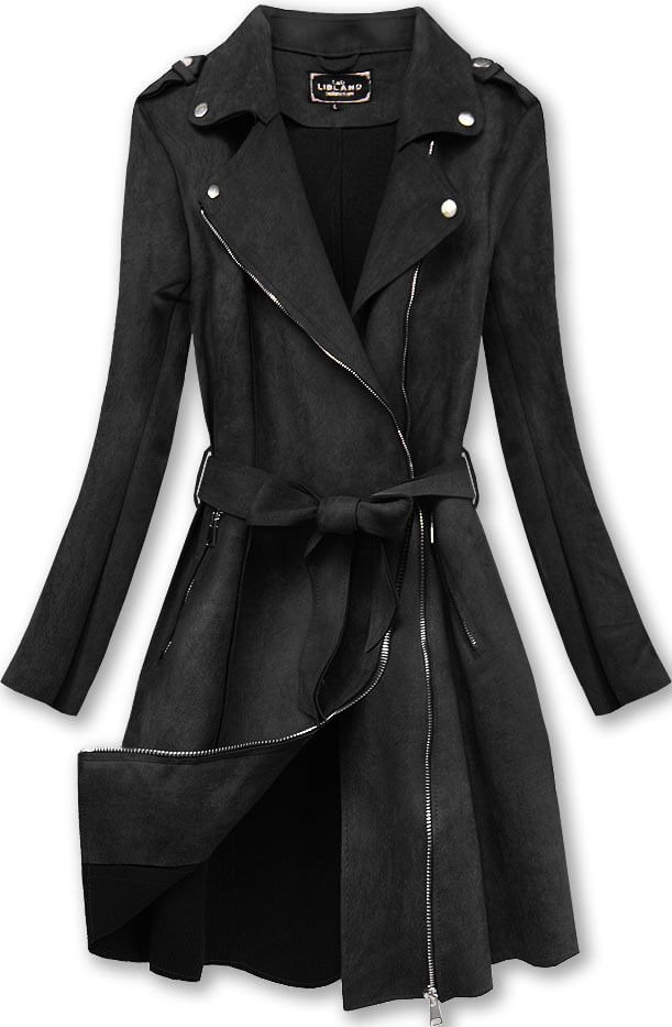 Černý dámský semišový kabát (6004BIG) černá 46