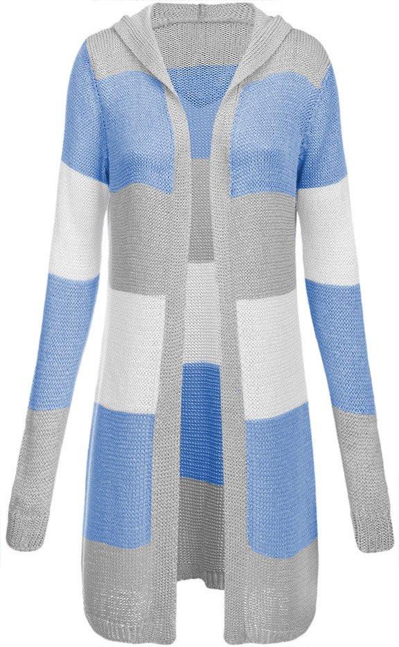 744b4b6abd9 Šedo-modrý dámský dlouhý svetr s kapucí (122ART) Barva  modrá