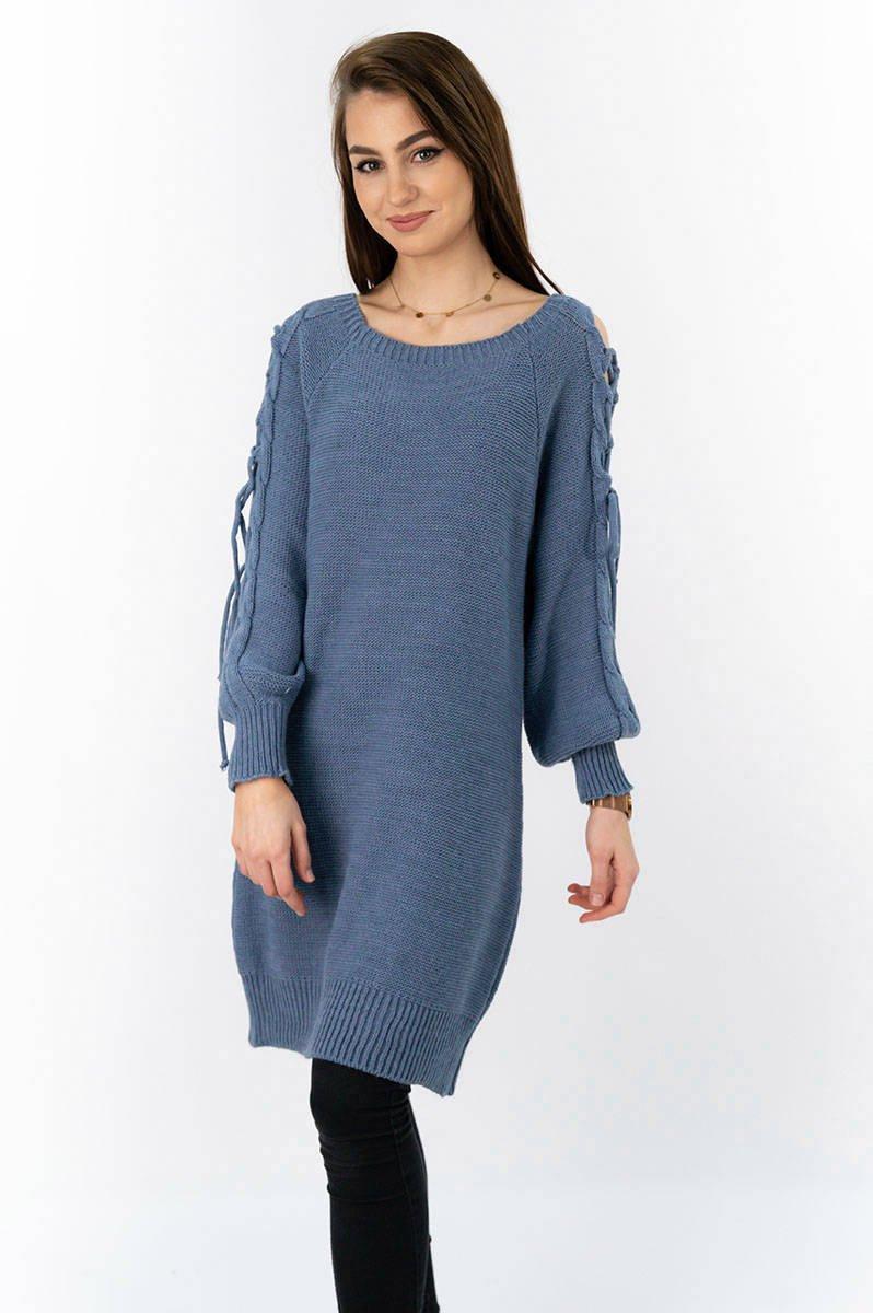 Modrý dámsky sveter s viazaním na ramenách (113ART) modrá ONE SIZE