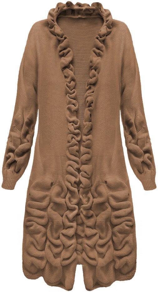 Kakaově hnědý dámský svetr s nabíráním (126ART) Barva  hnědá 6de26f23e8