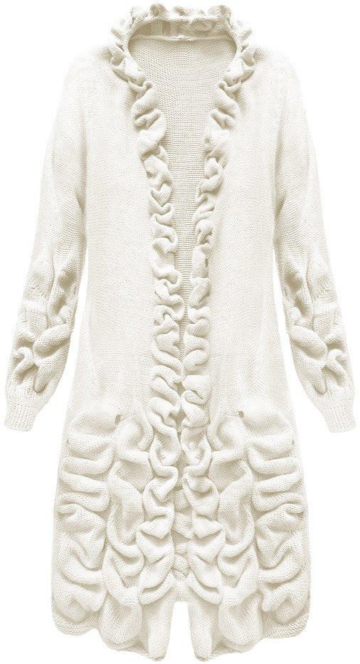 Okrový dámský svetr s nabíráním (126ART) Barva  okrová 972e350e26