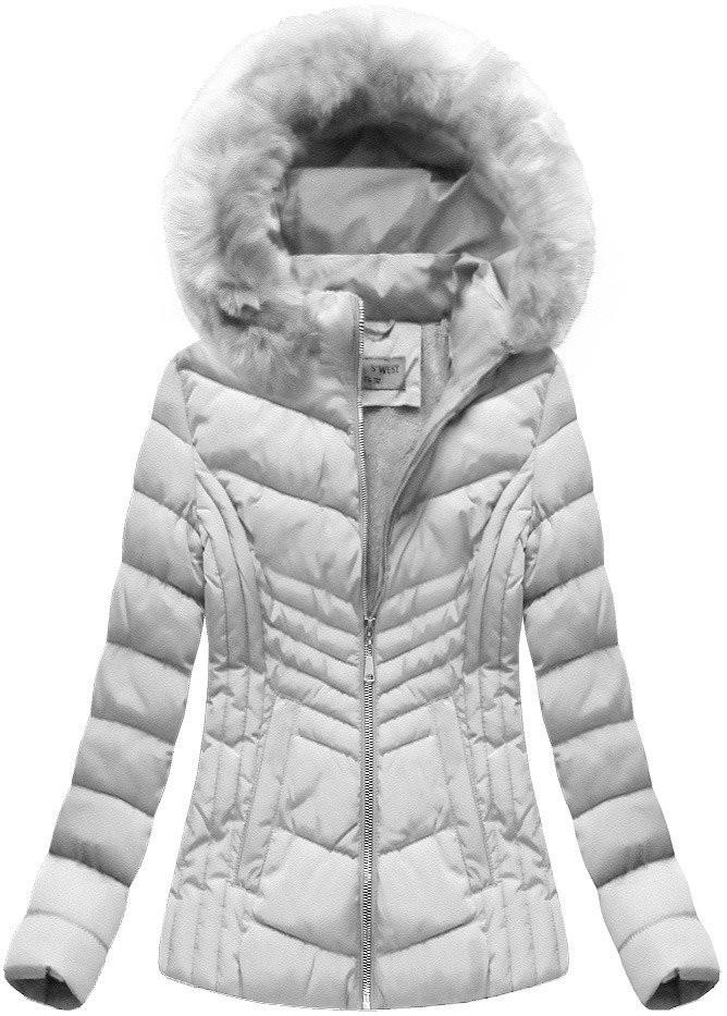 Šedá dámská zimní bunda s kapucí (B1060-30) Barva  šedá 48d01a05a9