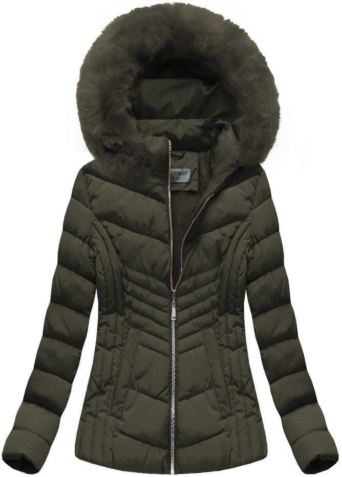 Khaki dámská zimní bunda s kapucí (B1060-30) Barva: khaki, Velikost: S (36)