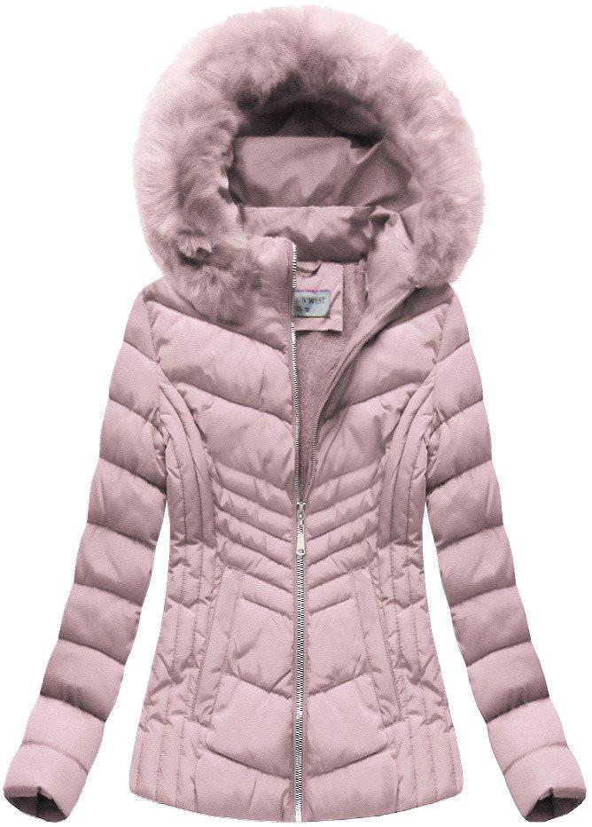 Růžová dámská bunda s kapucí (B1060-30) Barva: růžová, Velikost: S (36)