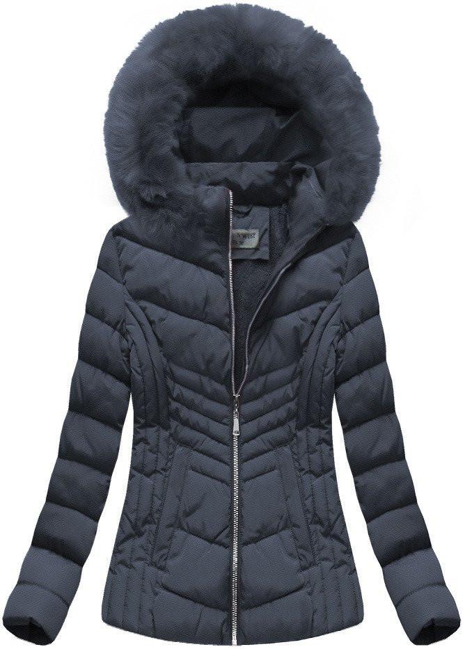 Tmavě modrá dámská zimní bunda s kapucí (B1060-30) Barva: tmavěmodrá, Velikost: S (36)