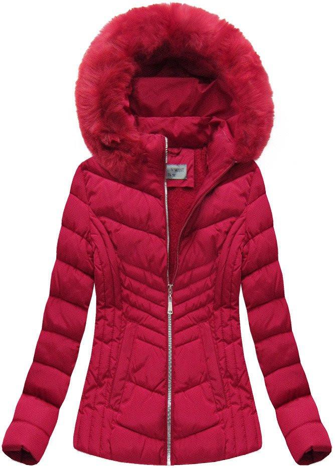 Červená dámská zimní bunda s kapucí (B1060-30) Barva: červená, Velikost: S (36)