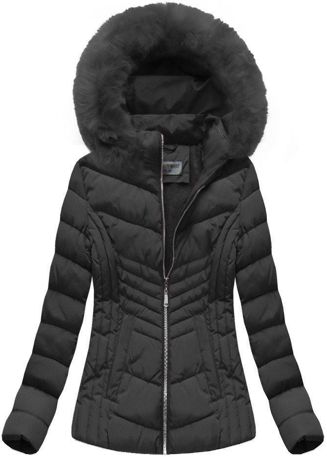 Černá dámská zimní bunda s kapucí (B1060-30) Barva: černá, Velikost: S (36)