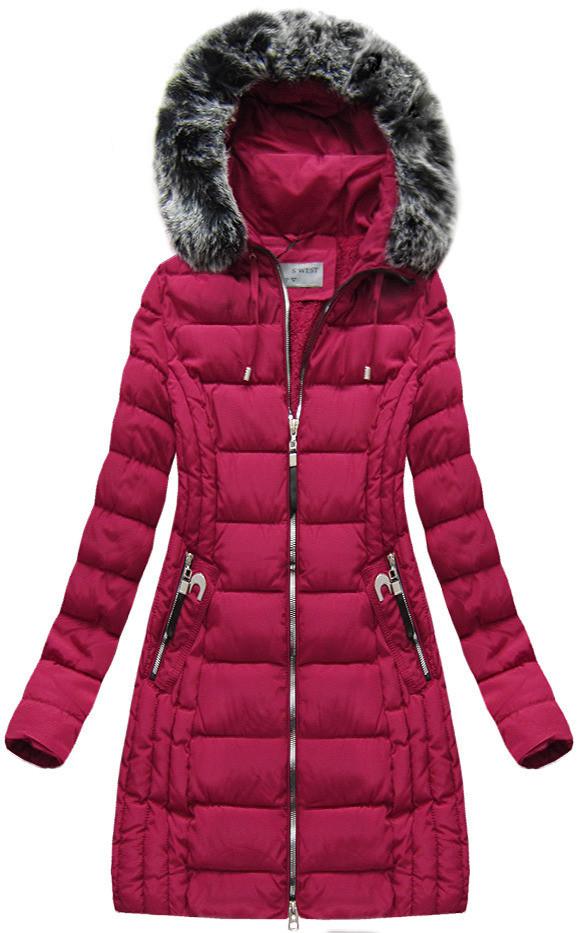 Červená dámská zimní bunda s kapucí (B1056-30) Barva: červená, Velikost: M (38)