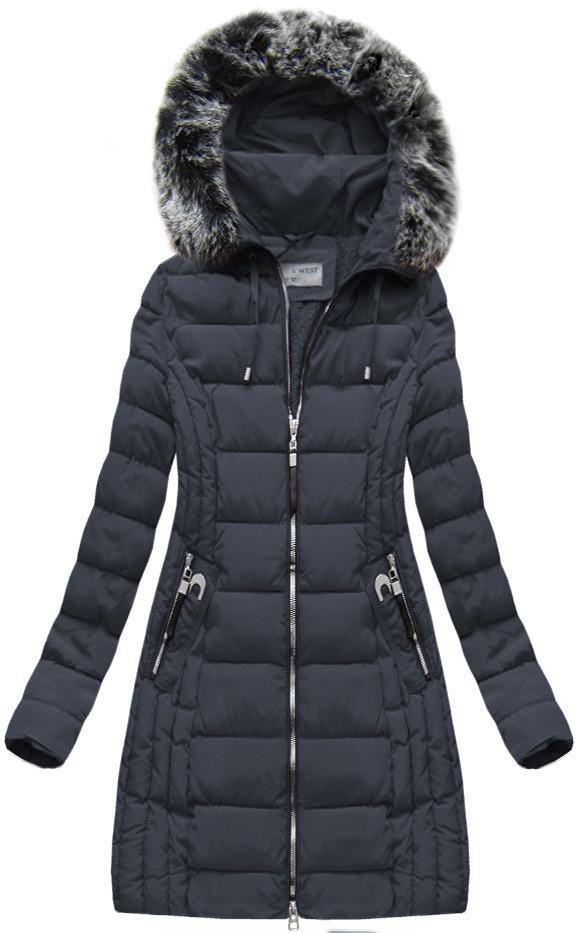 Tmavě modrá dámská zimní bunda s kapucí (B1056-30) Barva: tmavěmodrá, Velikost: M (38)