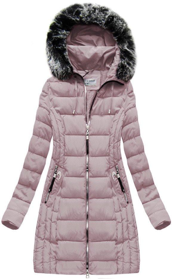 Růžová dámská zimní bunda s kapucí (B1056-30) Barva: růžová, Velikost: M (38)