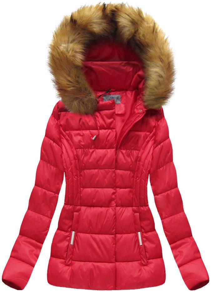 ffb7597f99 Červená dámská bunda s kapucí (B1032-30) červená L (40)