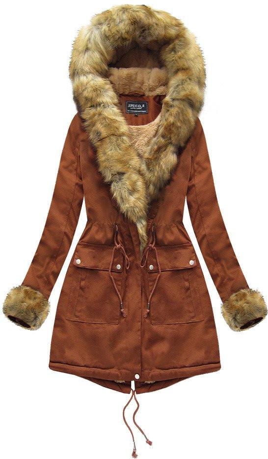 Karamelová dámská zimní bunda s kožíškem (XW805X) hnědá M (38)
