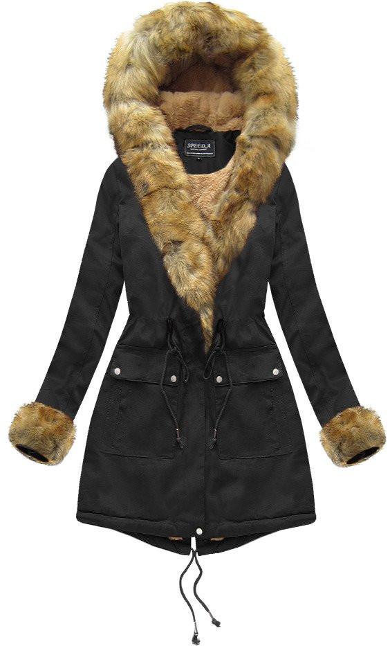 Černá dámská zimní bunda s kožíškem (XW805X) černá M (38)