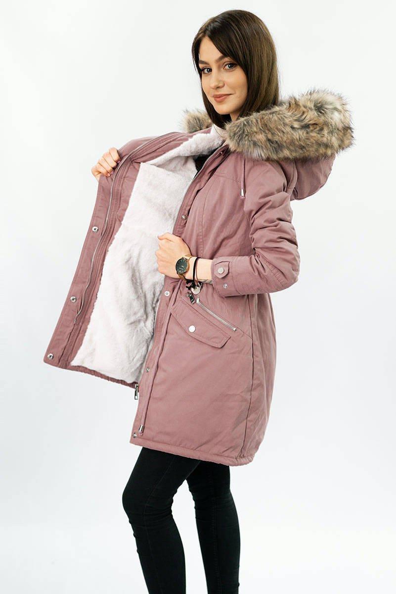 Ružová dámska zimná bunda parka (7602) różowy S (36)