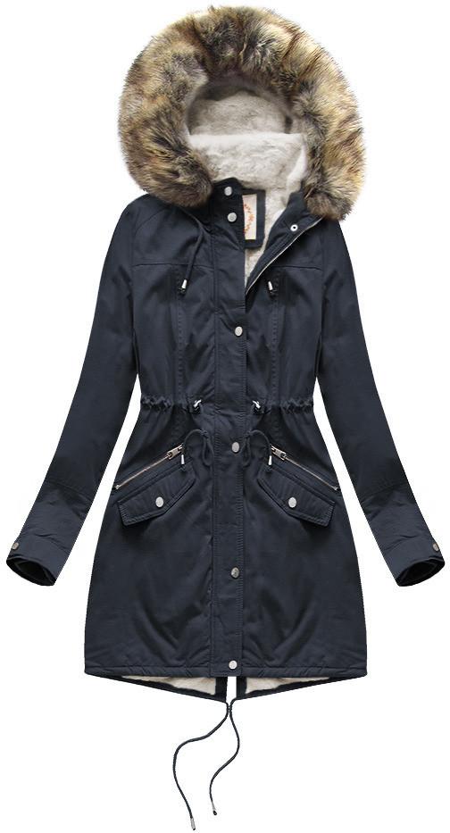 Tmavo modrá dámska zimná bunda parka s mechovitým kožúškom a kapucňou (7602BIG) tmavěmodrá 52