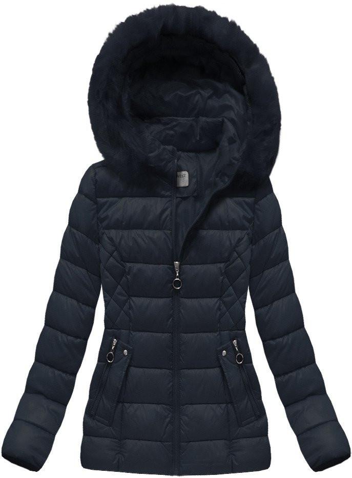 Tmavě modrá dámská zimní bunda s kapucí (B1035-30) Barva: tmavěmodrá, Velikost: M (38)