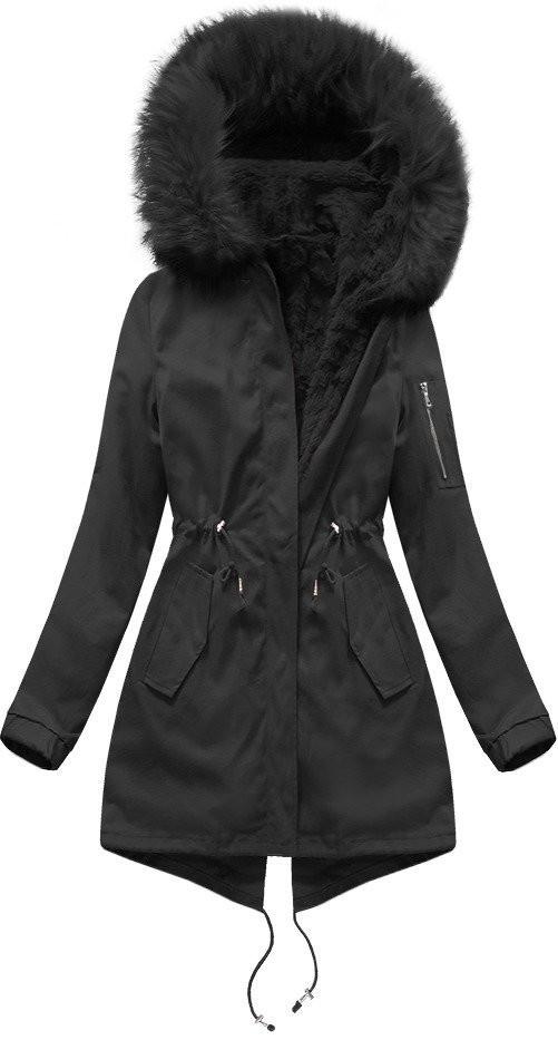 Černá dámská zimní bunda s vsadkou (R1308) černá S (36)