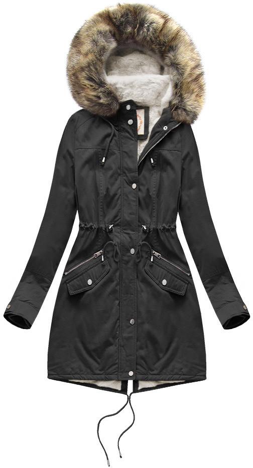 Čierna dámska zimná bunda parka s mechovitým kožúškom a kapucňou (7602BIG) černá 46