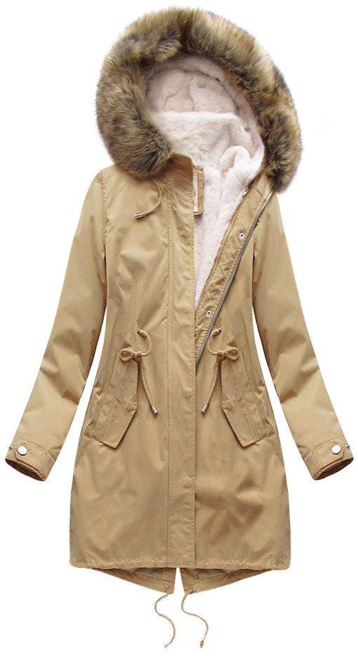 Béžová dámska zimná bunda parka s podšívkou a kapucňou (7626BIG) Béžová 52