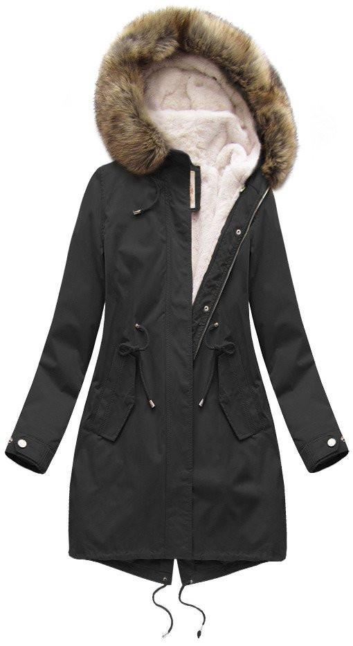 Čierna dámska zimná bunda parka s podšívkou a kapucňou (7626) černá XXL (44)