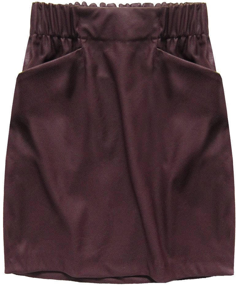 Bordó dámská koženková sukně (131ART) bordó L (40)