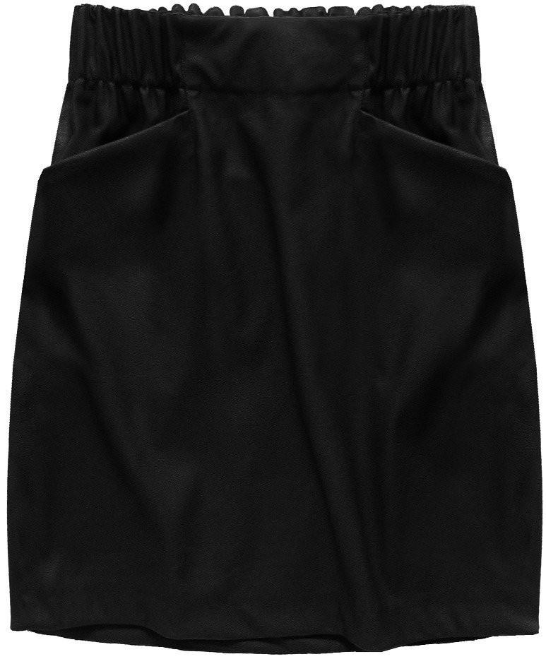Černá sukně z eko kůže s kapsami (131ART) černá XL (42)