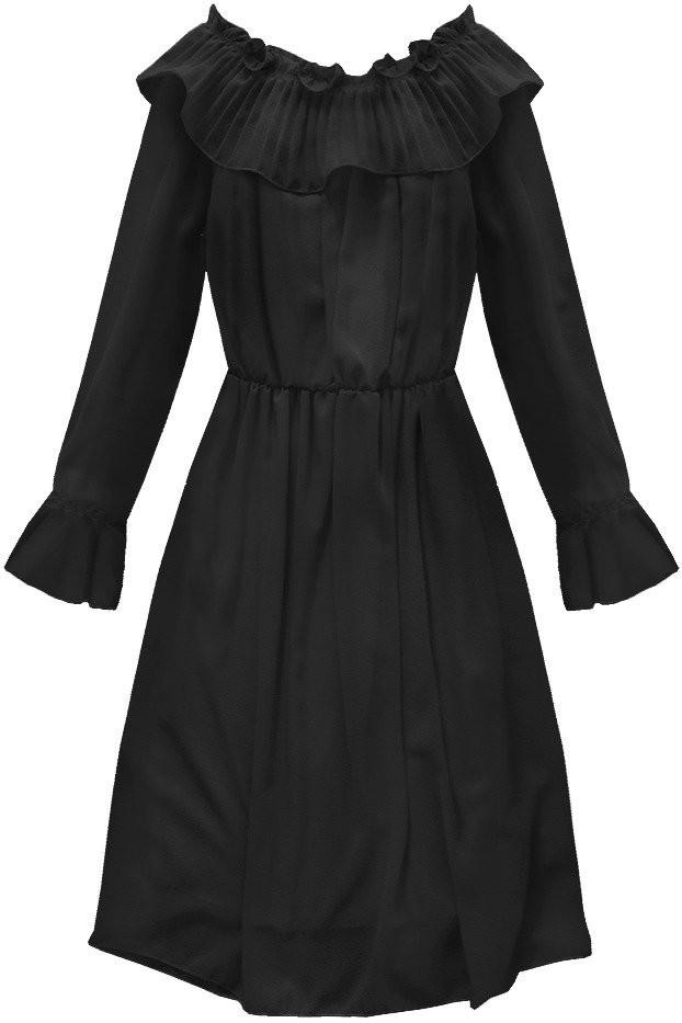 Čierne šifónové šaty s volánom (139ART) čierna jedna veľkosť