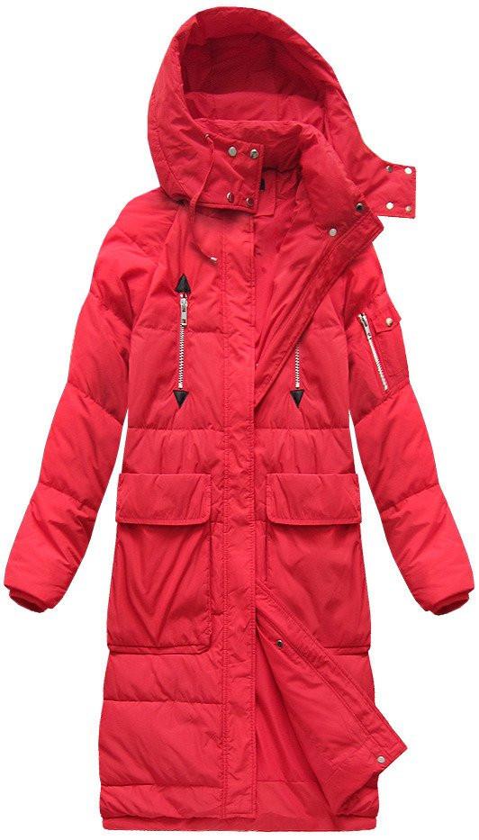 Červený dámský kabát s přírodní vycpávkou (7118) červená L (40) 4666e58b644