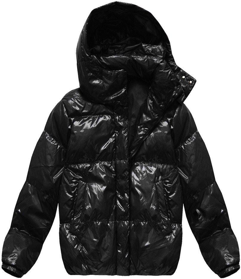 """Černá lesklá bunda typu """"oversize"""" (7121) černá L (40)"""