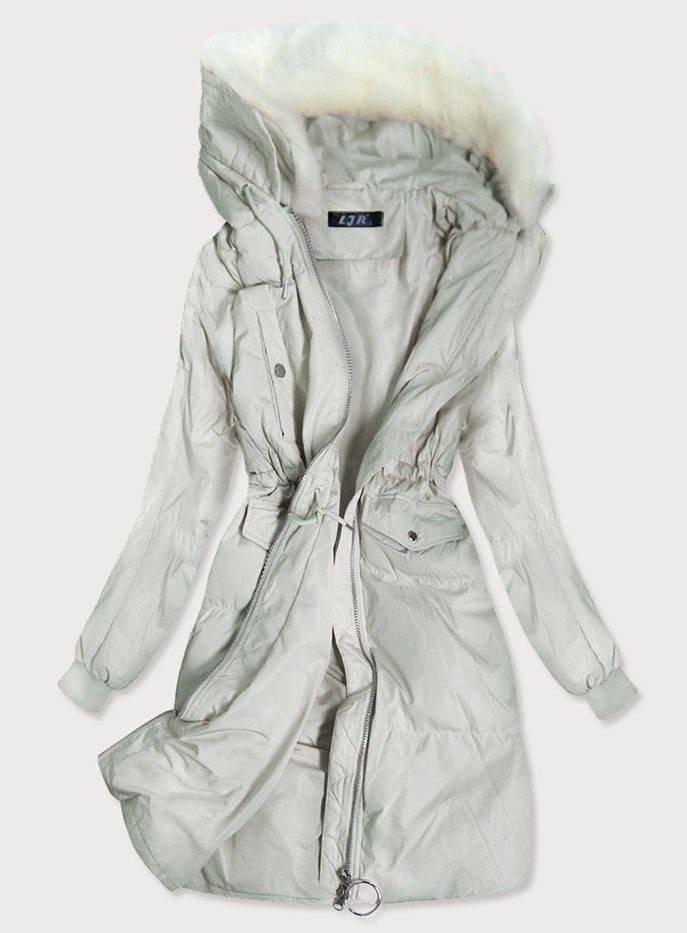 Šedý dámský zimní kabát (17117) šedá L (40)