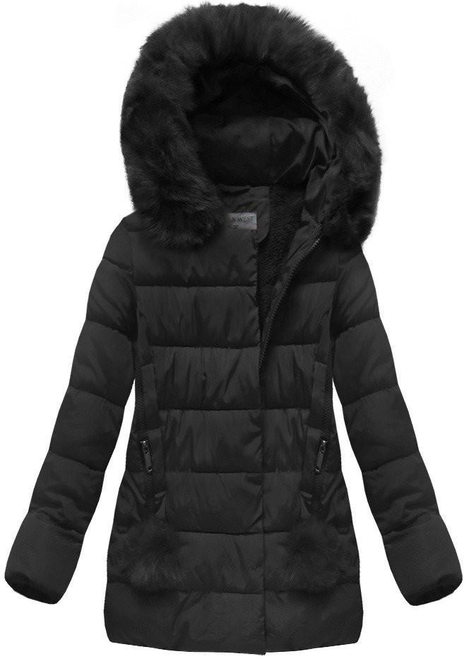 Černá dámská zimní bunda (R3572) černá S (36)