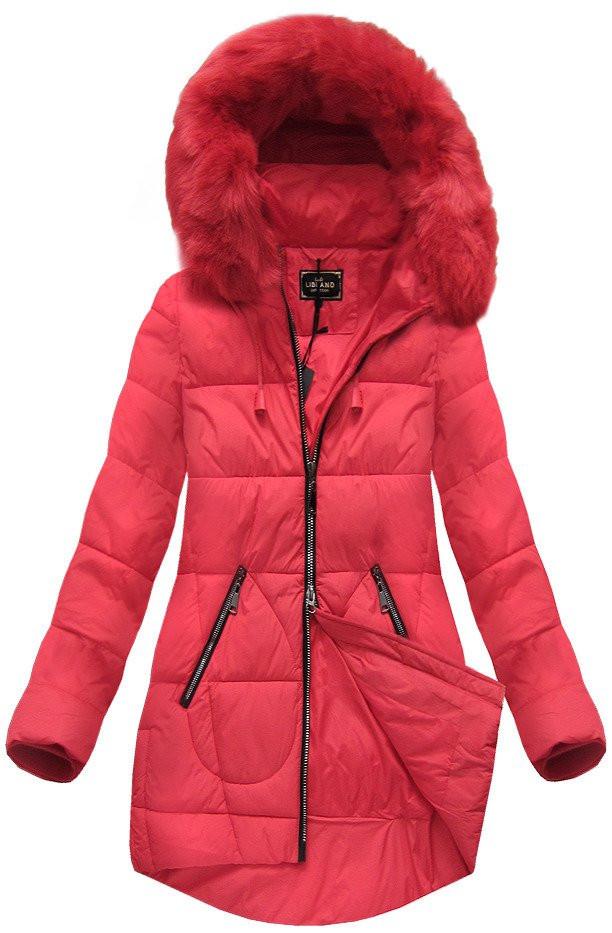 Červená dámská zimní bunda (7703BIG) červená 54