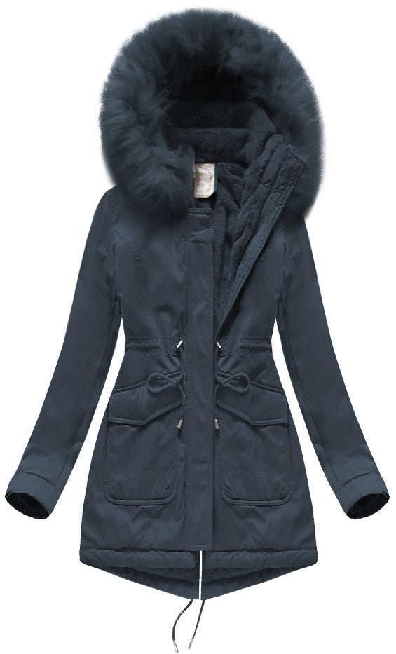 Tmavo modrá dámska zimná bunda parka s kapucňou (7617BIG) tmavěmodrá 52