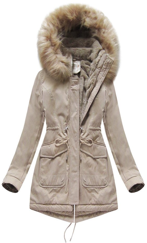 Béžová dámska zimná bunda parka s kapucňou (7617BIG) Béžová 52