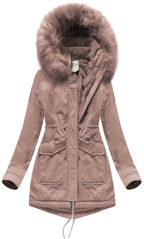 Dámska zimná bunda parka v staroružovej farbe s kapucňou (7617BIG) Růžová 52