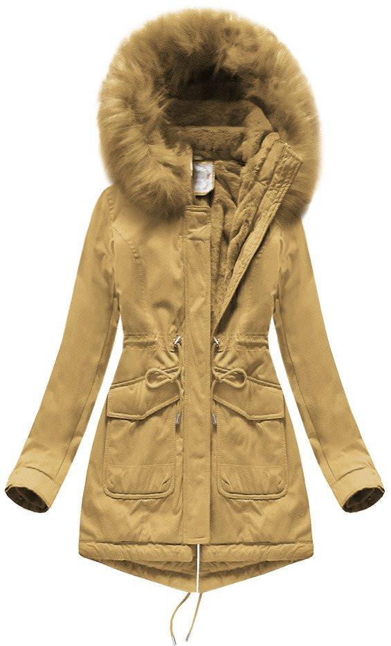 Dámska zimná bunda parka v horčicovej farbe s kapucňou (7617BIG) Žlutá 52