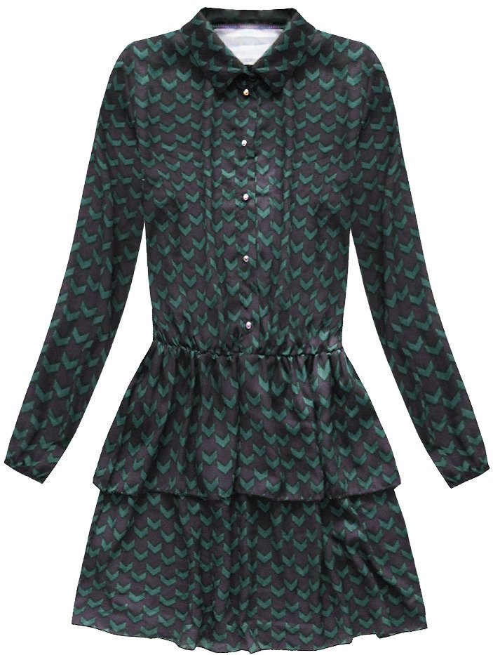 Černo-zelené košilové šaty (150ART) zelená ONE SIZE 8edf0e79613
