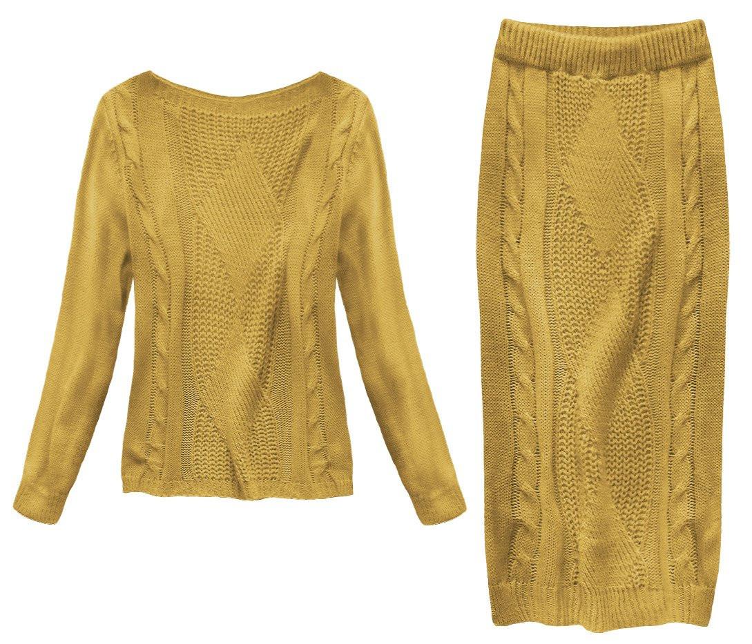 Á la vlněný komplet v hořčicové barvě - svetr a sukně (159ART) žlutá ONE SIZE